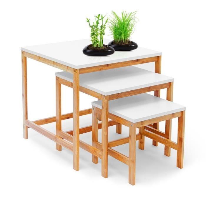 Lot De 3 Tables Basses Gigognes Bambou Bois Clair Et Blanc 50 X 50