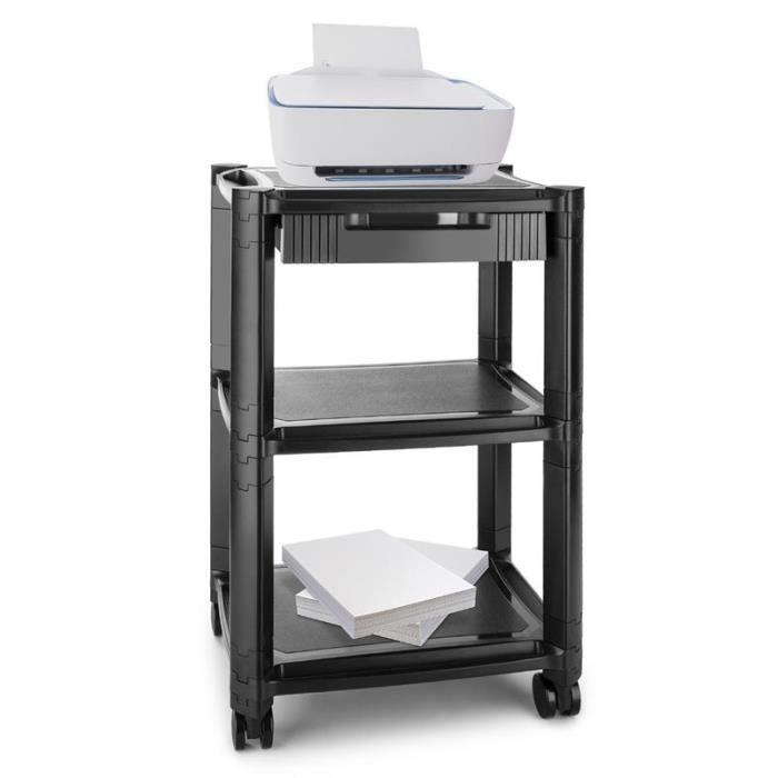 Auna P Stand Table Roulante 3 Etages Pour Imprimante Avec Tiroir Roues Freins