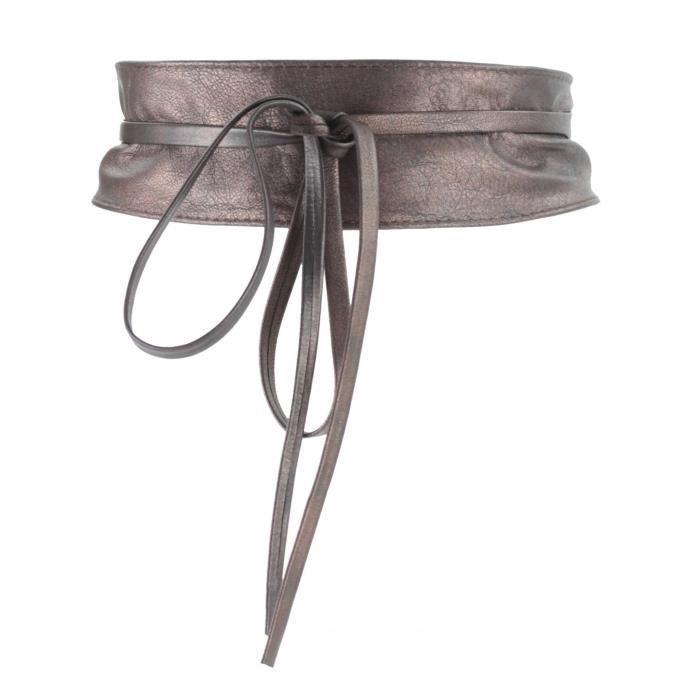 24e104380dda Ceinture Cuir Femme (Marron Fonce - TU) - Achat   Vente ceinture et ...