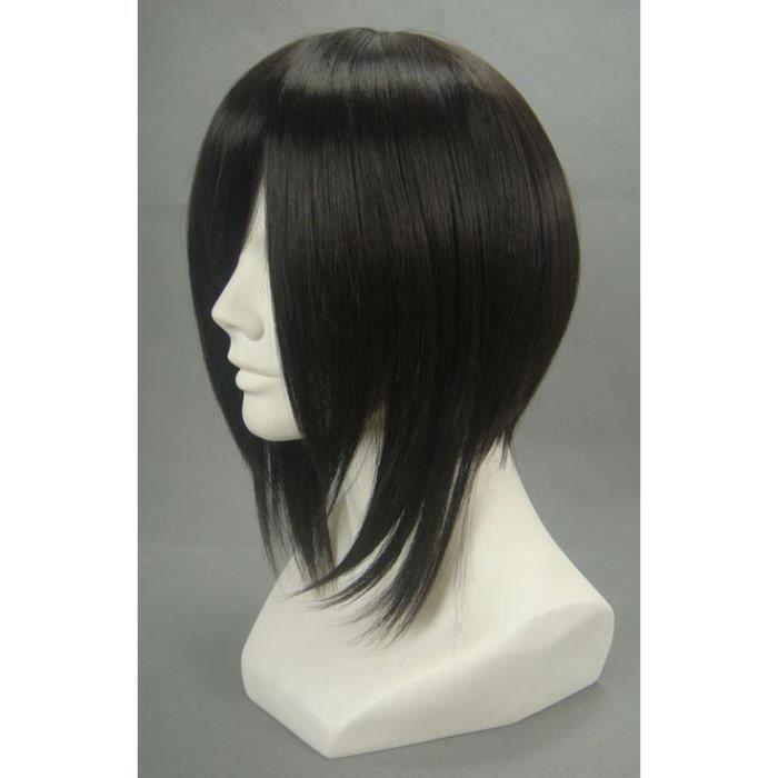 CHAPEAU - PERRUQUE Perruque noire courte 32cm, cosplay Ash-Sebasti...
