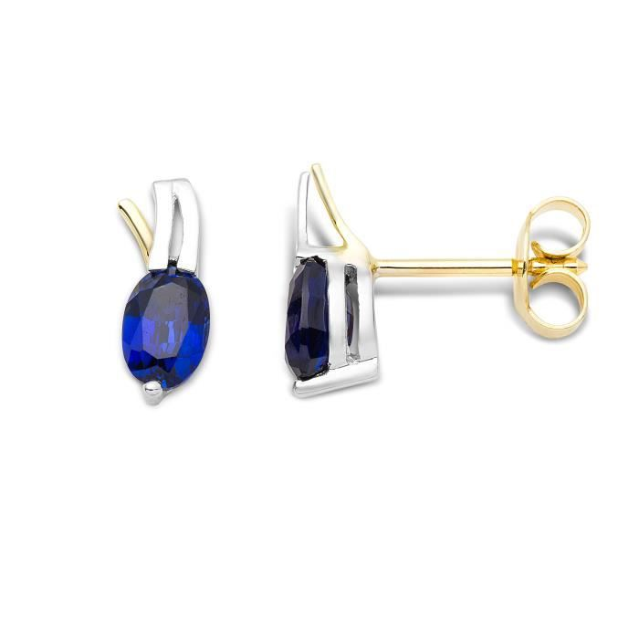 Miore Womens 9ct Two Colour Gold Sapphire Stud Earrings Mh9044e