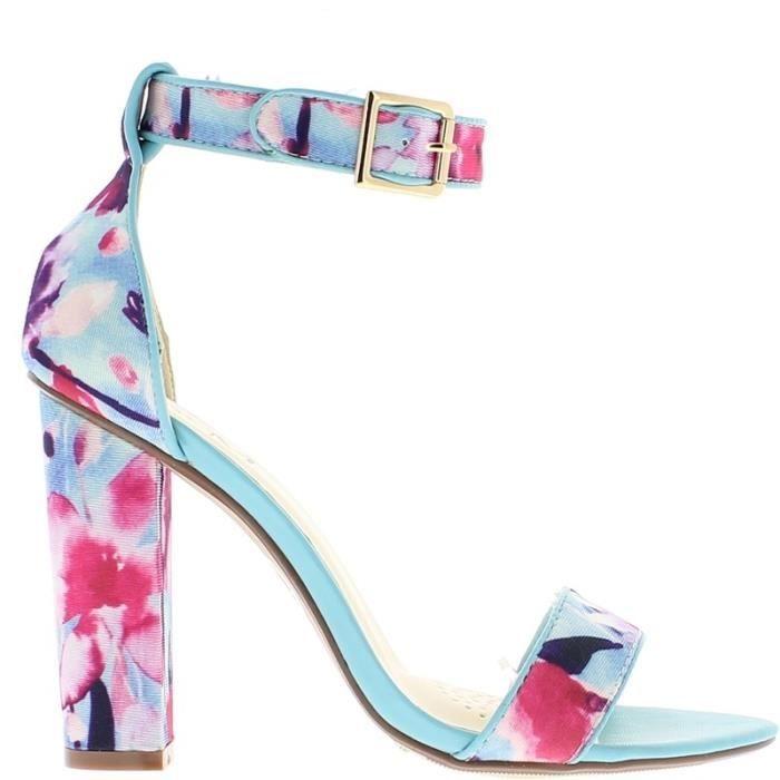 Sandales bleues à talon de 10,5c…