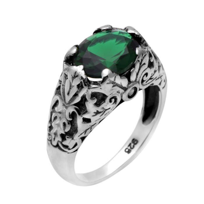 Bague - Femme - Argent 925-1000 - Emerald - Swarovski Elements