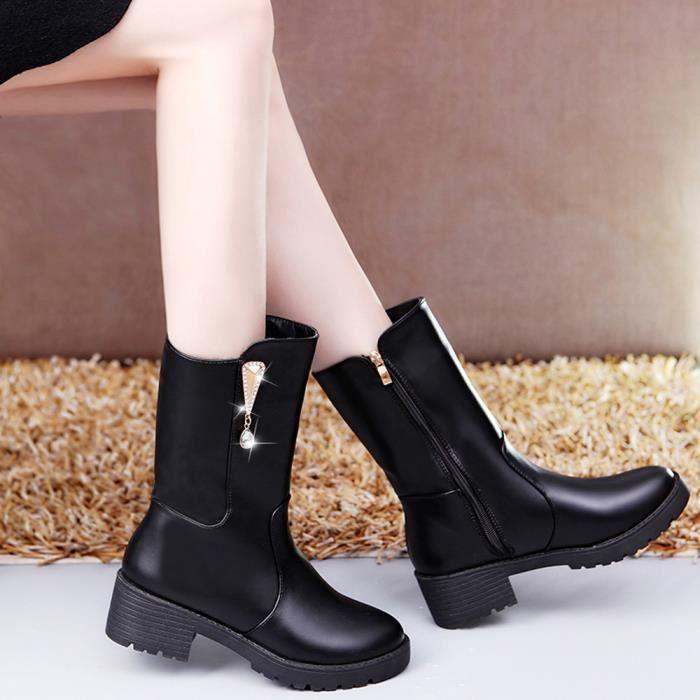 Femmes Punk Knight lacets courtes Martin bottes plates chaussures Zipper épaisses bottes XYM71211905_1001 KPmZfh6
