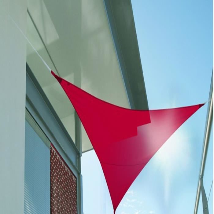 Voile d\'ombrage triangulaire Rouge en Polyester 200g-m² anti-UV, 360 ...