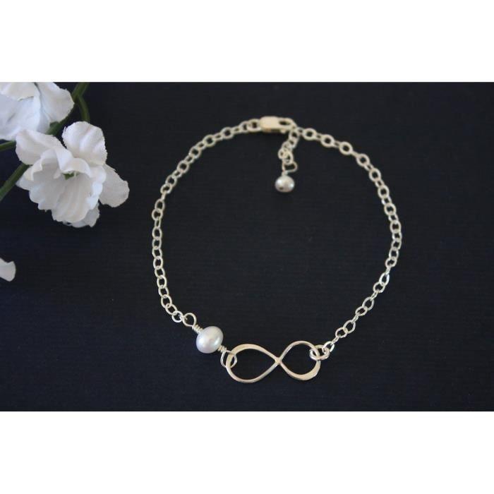 Mère et fille féminin Infinity Bracelet Set Infinity Bijoux Cadeau délicat en argent sterling Si REQ1Q