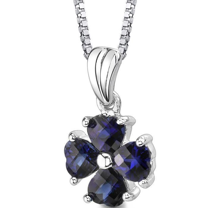 Collier avec Pendentif -Argent- Saphir Bleu Cœur