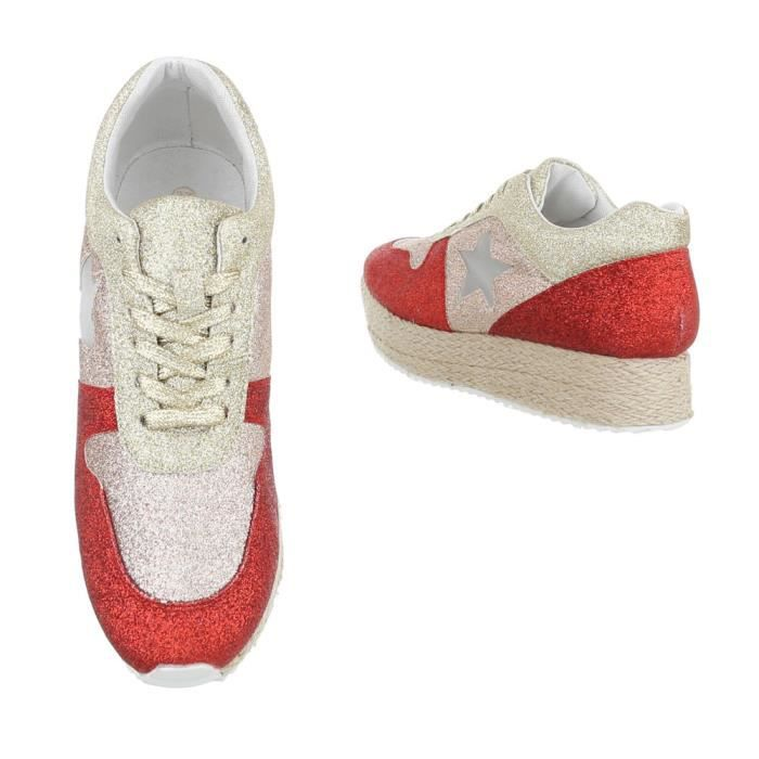 Chaussures femme chaussures sportSneakers rouge or 41