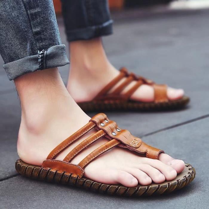 Hommes Sandal Hommes Flops Chaussures Pantoufles Plage Mode Été Des Plat Sandales Chaussons… K2ioDg