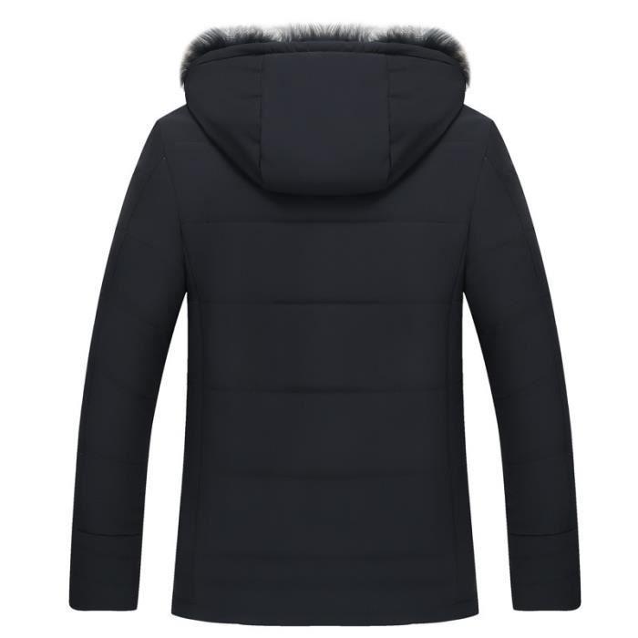 Col Luxe Vêtement Doudoune Imprimé De Mode Noir En Fourrure Marque Vêtements Homme Hiver Masculin Fausse COtq8