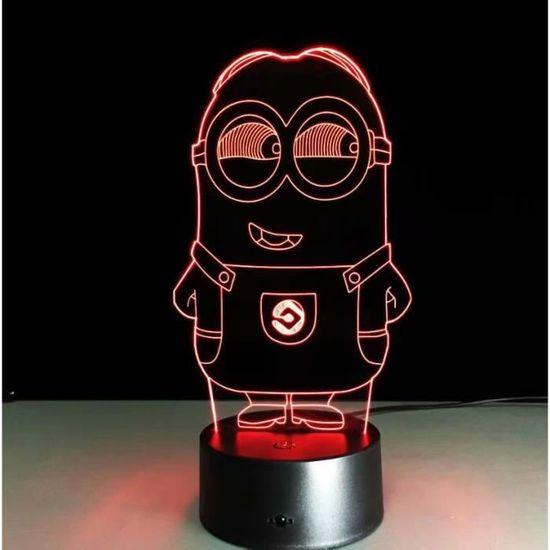 7 D'anniversaire Lumière Couleurs Tactile Lampe Led Cadeau De Mignon Table Minions Nuit 3d 9ED2IH
