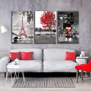 TABLEAU - TOILE 3 pcs Paris Moderne Tour De Voiture Rouge Érable F