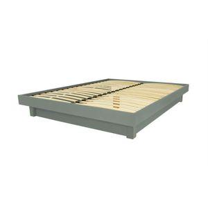 STRUCTURE DE LIT Lit plateforme bois massif pas cher (Gris - 140x20