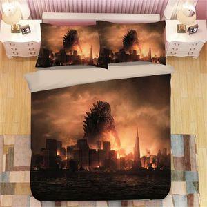 HOUSSE DE COUETTE ET TAIES Godzilla Parure de Couette 3D Imprime-1 Housse de