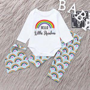 346aeca46f1e Ensemble de vêtements Nouveau-né bébé garçon Lettre arc-en-Romper Hauts ...