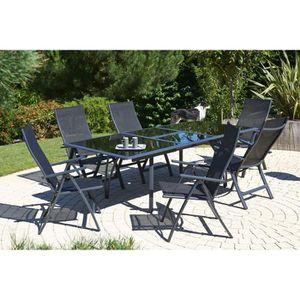 Ensemble table extensible de jardin 180 - 240 cm + 6 fauteuils ...