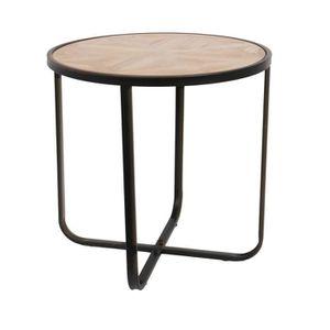 TABLE D'APPOINT Table à café en bois et métal Industriel - Diam. 4