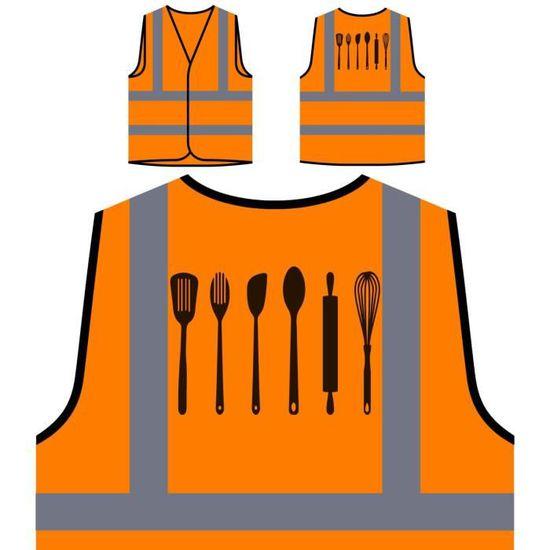 Protection ustensiles Cuisine Orange De Haute À Personnalisée Visibilité Veste 5wH0qvw
