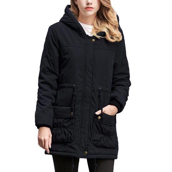 À D'hiver Col Femmes Outwear Parka Long Chaud xjj81022231bk Capuche Manteau Slim noir Manteaux Veste qwtzXBt