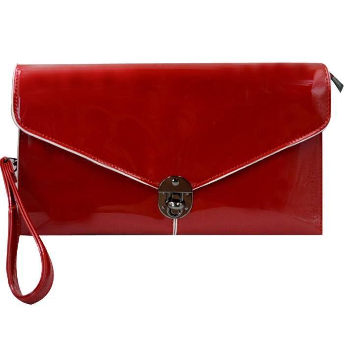 Femmes enveloppe sac à main Pu Wristlet SOIRÉE Sac Messenger Chaîne dembrayage H08DO
