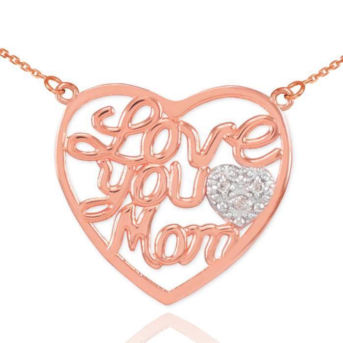 Pendentif 14 ct 585/1000 en or rose pavé de Diamants Cœur Love You MèreScript