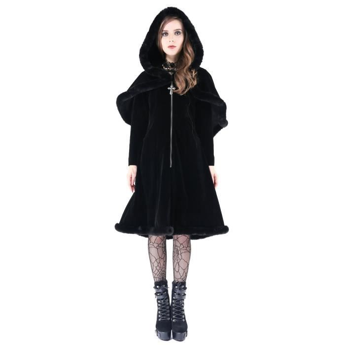 d7419064229c Manteau noir en velours, boléro en imitation fourrure avec capuche et  croix, darkinlove XXL Noir