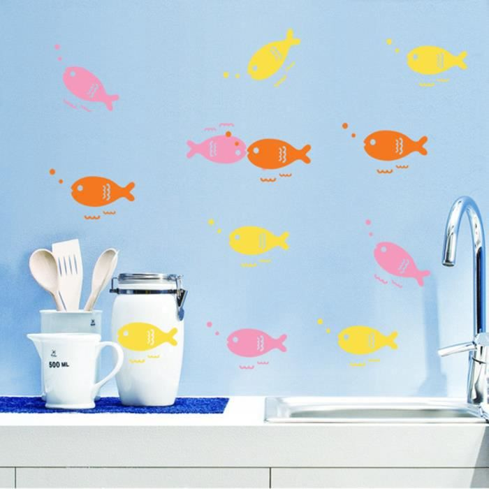 Petits Poissons Colores Rose Rouge Stickers Muraux Chambre A Coucher