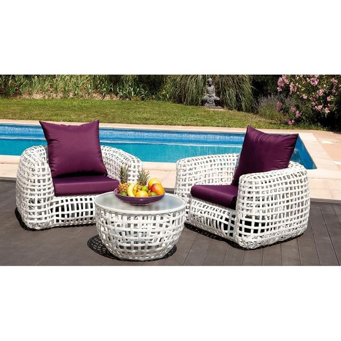Salon de jardin deco blanc 2 places - Achat / Vente salon de jardin ...