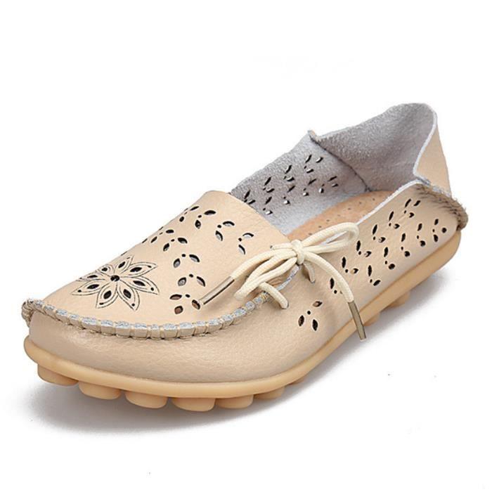 Moccasins femme En Cuir De Marque De Luxe Loafer Nouvelle Mode 2017 ete Chaussure femmes Grande Taille perforé Respirant