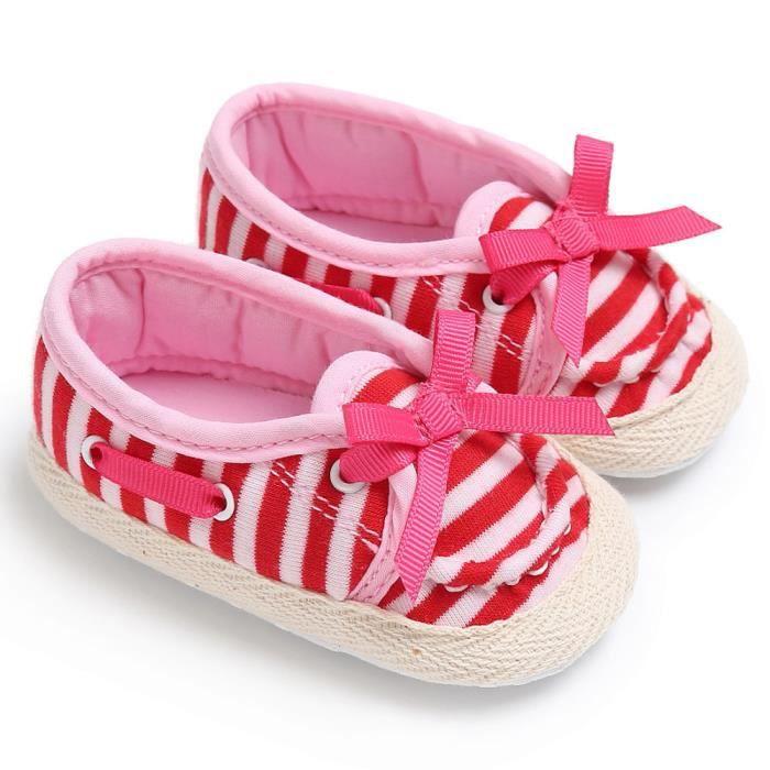 Frankmall®Bébé mignon chaussures de berceau glisser chaussures confort mocassins Soft premarcher ROSE#WQQ0926267