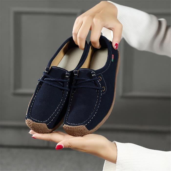 Moccasins Femme Hiver Loisirs Fond plat Confortable Nouvelle Chaussure Classique Mode Moccasin Elégant Rétro Taille 35-42