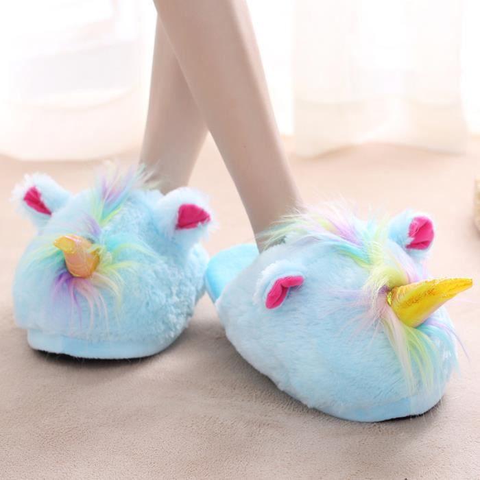 Femme Homme Pantoufles Peluche Chaussure Licorne Chaussons Suople Maison nRnBKKaT