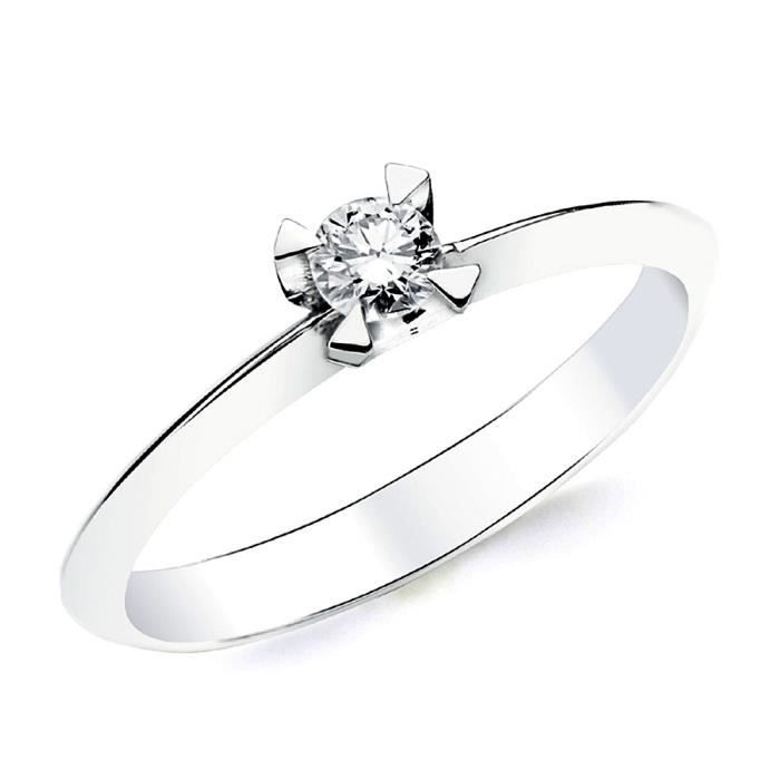 Bague solitaire Or blanc 18 0,150ct 1 diamant brillant. [AB2830] - Taille: 56