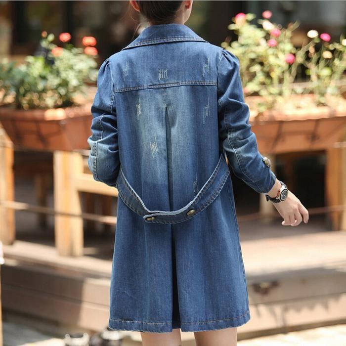 Femmes Mode Casual manches longues Veste en jean long manteau Jean Outwear Pardessus Bleu