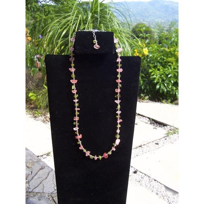 Collier rose et vert et Bracelet femme XCR29