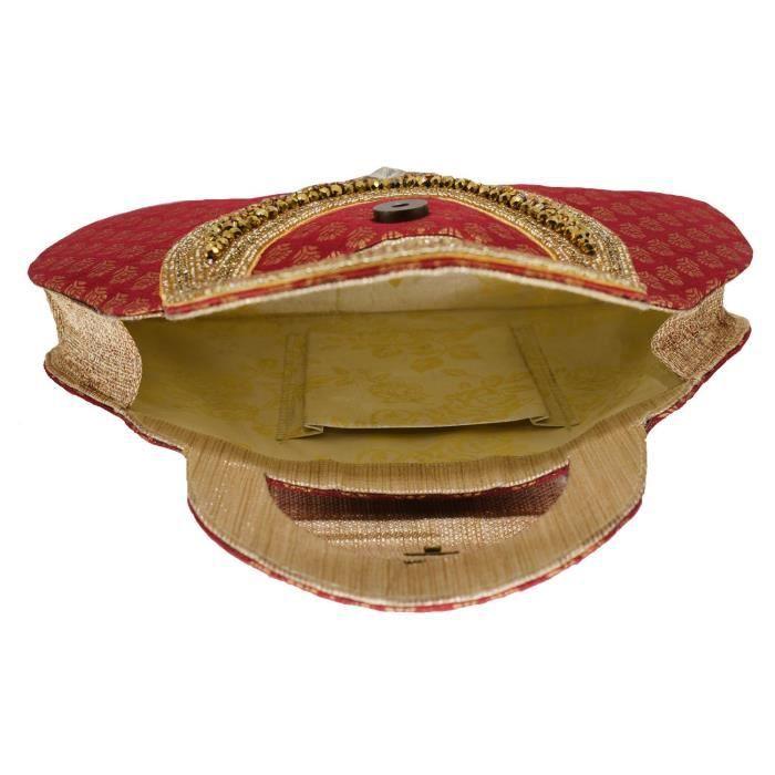 Perles ethniques des femmes et des embrayages de cocktail en soie élégant en pierre avec le travail de broderie embrayages damesAC