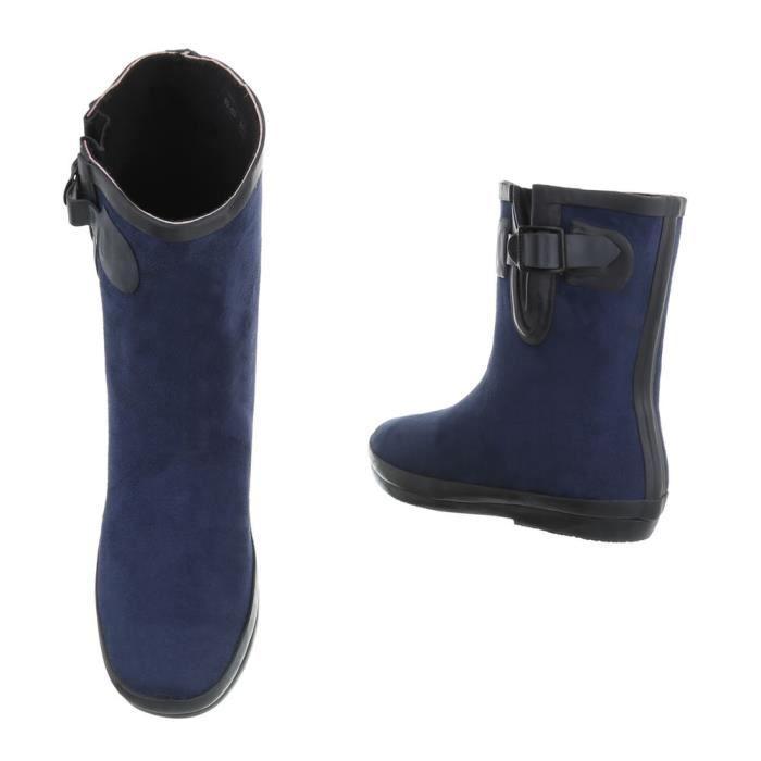 Chaussures femme bottine caoutchouc Bottes bleu foncé 41
