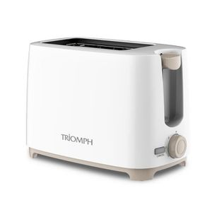 GRILLE-PAIN - TOASTER Grille pain 2 fentes blanc-taupe 700W - Triomph ET