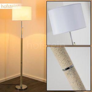 LAMPE DE JARDIN  Lampadaire Hofstein Denver Chrome Abat-jour Blanc