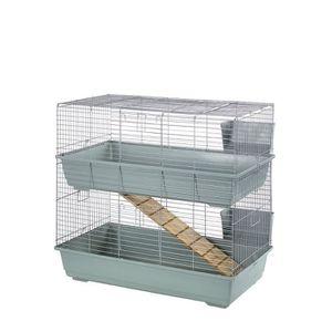 CAGE Little Friends Cage à double étage pour lapin Beig