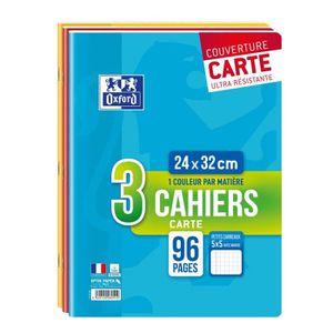 CAHIER OXFORD - Lot de 3 cahiers agrafés 96 pages 5x5 24