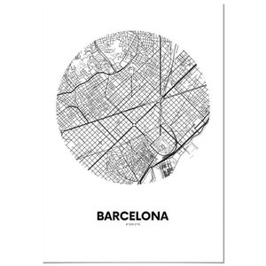 AFFICHE - POSTER Panorama® Poster Carte Cercle de Barcelone 50 x 70