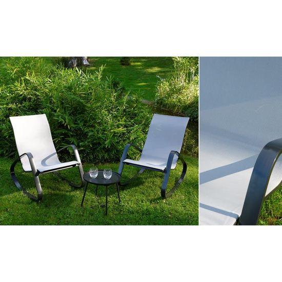 Fauteuils à bascule gris clair + table basse - Achat / Vente salon ...