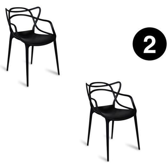 Lot De 2 Chaises Masters Noires Inspiree Kartell Philippe Starck
