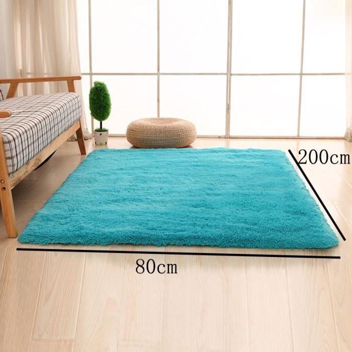 bleu 80 200cm tapis chambre enfant tapis salon du sol maison d coration confortable shaggy. Black Bedroom Furniture Sets. Home Design Ideas