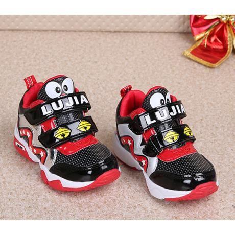 Enfants chaussures chaussures résistantes pratique de glissement de bande dessinée de Velcro-rouge