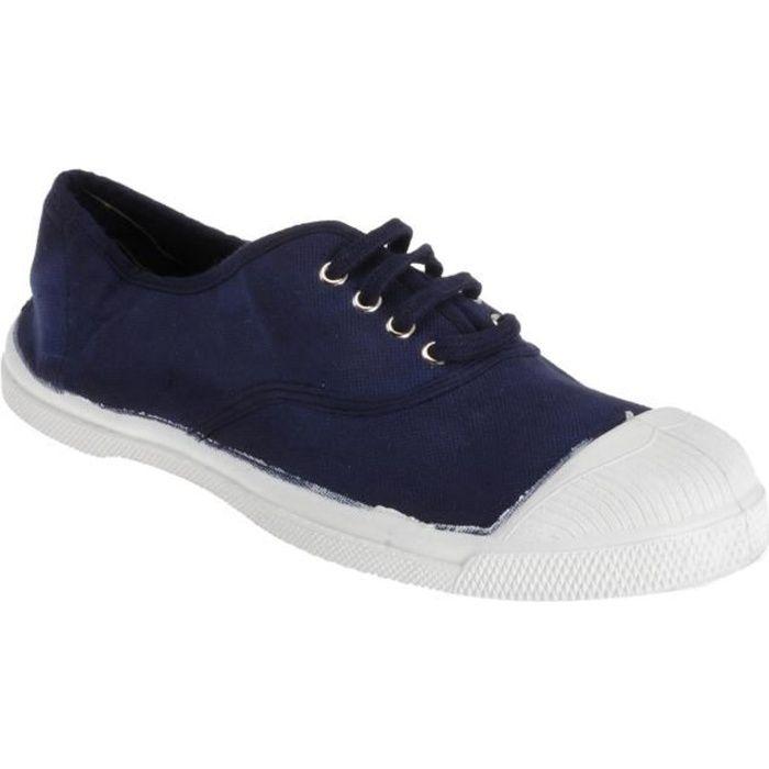 17a279f737e14 ... Femme - Bleu marine. BASKET BENSIMON Baskets Basses à Lacets en Toile  de Coton
