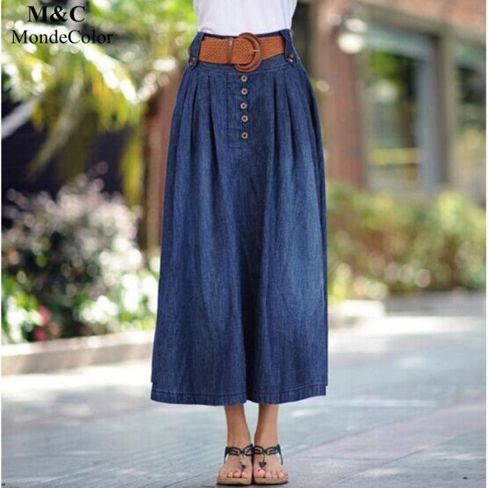 0bec8e5abaaa94 Nouveau Jeans Femme Jupe Solide Couleur Bouton Ceinture Désign Jupe ...