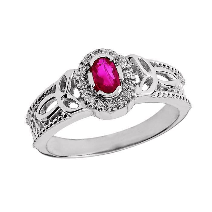 Bague Femme 14 Ct Or Blanc Rubis Et Diamant Trinité Nœud