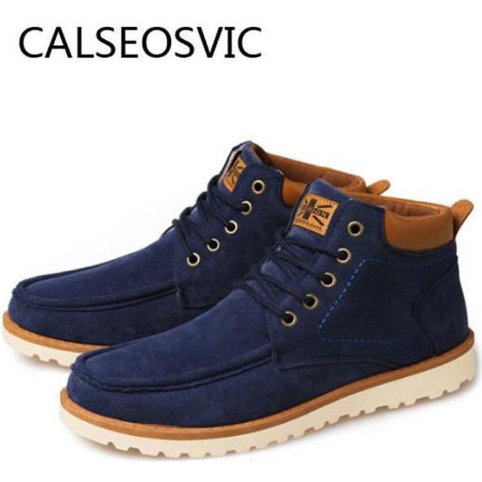 Hommes Bottines Bottes Chaussures à lacets en cuir New Fashion Suede Winter